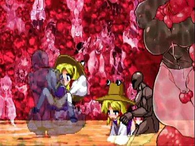 【エロアニメ】 東方の洩矢諏訪子が中出しされ続けてハートマーク出してオチンポ感じちゃうw