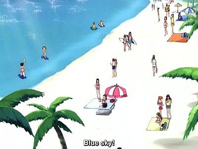 【エロアニメ】南の島でハーレム!爆乳美少女にパイズリフェラされちゃう