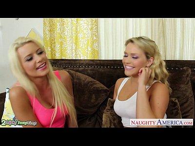 Porno video: Blondes Anikka Albrite and Mia Malkova fucking in threesome