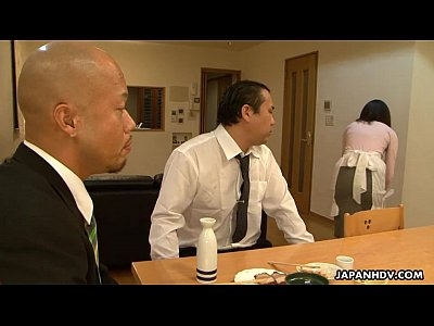 Asian Japanese Fuck video: Asian maid sucking him in front of his client