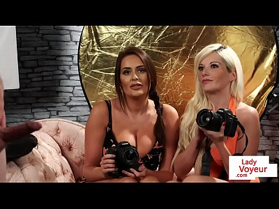 Voyeur Femdom Glamour video: Bigtitted british voyeurs humiliate with joi
