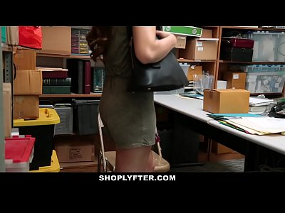 Brunette Skinny Office vid: Shoplyfter - Caught Red-Handed And Bribed To Fuck