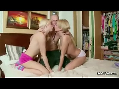 Two Sweet Teens in Anal Fuck Threesome with Stranger Boy