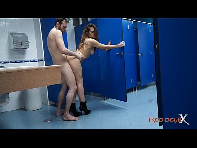 Tube Xxx hot brunette fucking in a public restroom