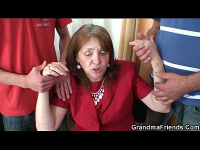 Grandmathreesome Grandmother Granma video: Busty granny in stockings rides and sucks at same time