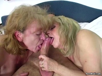 Threesome Chubby Mature video: Lucky guy fucks two amazing grannies