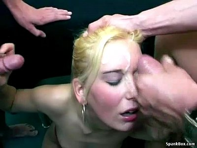 Gangbang Gilf Grandma video: Granny cleans up cum from hot blonde babe