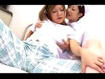 綺麗なナースが可愛い女性患者にベロチューして院内でレズるフェチ動画