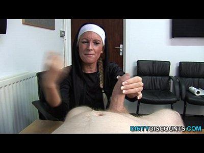 Lingerie Pov Handjob video: Real brit nun punishing hard cock