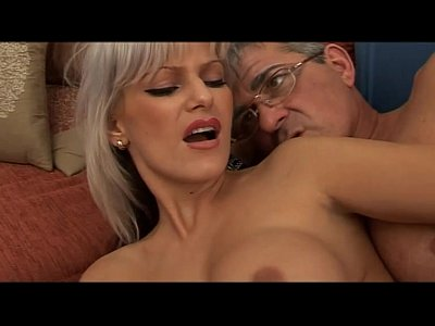 Hot babe with big tits seduces a mature man...