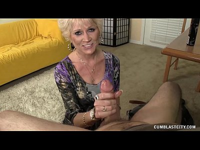 Handjob Mature video: Topless Granny Splattered WIth Cum