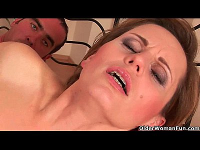 Sultry soccer mom enjoys his hard cock in her mouth and up her mature pussy