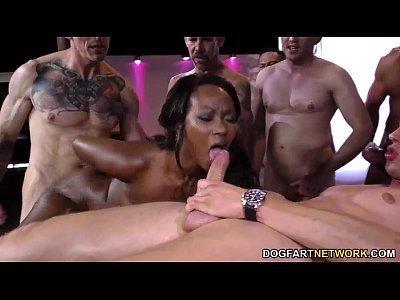 Interracial Hardcore Pornstars vid: Ebony Skyler Nicole enjoys Anal Sex and Gangbang
