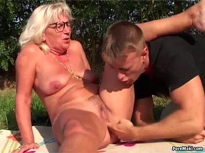 Hairy Blonde Outdoor video: Granny Outdoor Sex