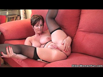 British Curvy English video: British granny Joy with big tits shows her fuckable body