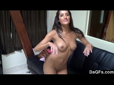 Sexy latina receives her first facial in a casting