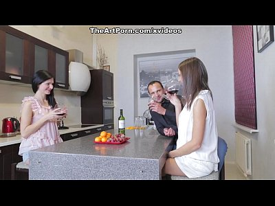 Licking Brunette Threesome video: An average evening of a Don Juan scene 1