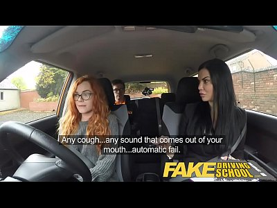 Blowjob Threesome xxx: Fake Driving School readhead teen and busty MILF creampie