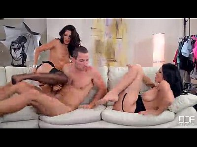 Threesome Glamour Model video: Two models prey on the photographer