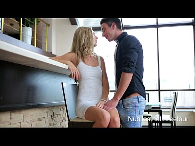 Hardcore Blonde Blowjob video: Perfect titties dripping with jizz