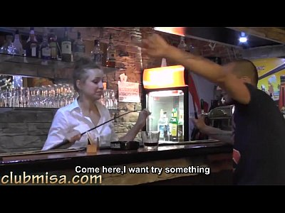 Bar Bj Blowjob video: Sexy waitress fucks hard with horny customer