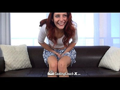 Amateur Hardcore porno: CastingCouch-X - Redhead Ashlynn Molloy with long legs cums on the agent