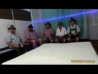 German Gangbang Facial video: two German cute teen gets gangbanged