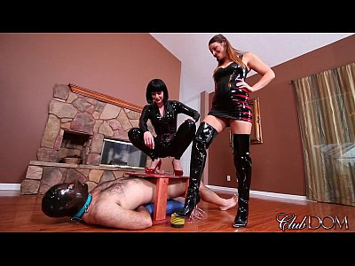 Femdom Latex Heels video: Gorgeous FemDom Crushes Balls And Her Ass Licked