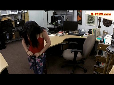 Lovely latina sells her TV and smashed in the back office