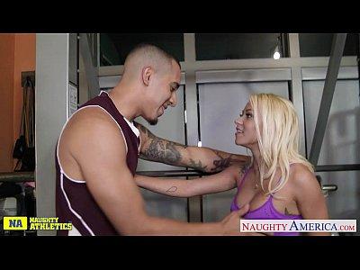 Blonde Blowjob Pornstar video: Athlete babe Marsha May fucking