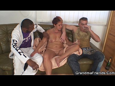 Grandmathreesome Grandmother Granma video: Interracial granny double penetration