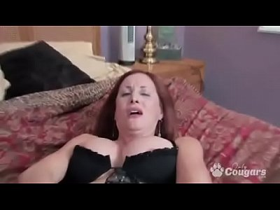 Lingerie Solo Milf vid: Redhead Mature Cougar in strockings & heels gives herself intense orgasm