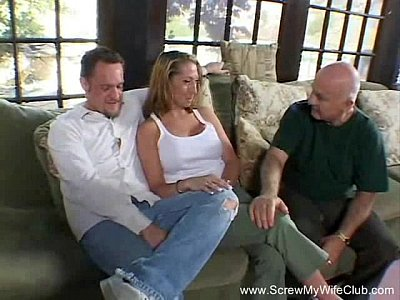 Swinger Wife Fucks Three Guys At Once While Hubby Watches