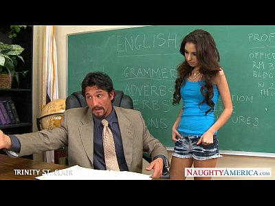 Brunette Classroom Fuck video: Slim schoolgirl Trinity St. Clair take cock