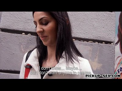 Blowjob Brunette Eurobabe video: Eurobabe Meg Magic flashes boobs and nailed by stranger