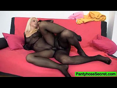 Blonde milf in stockings doubles up