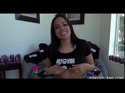 Cuban cutie masturbating on webcam with a dildo
