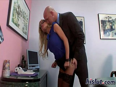 Slutty secretary takes her boss cock in deep