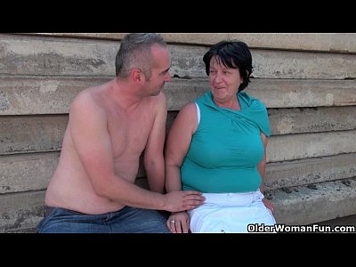 Mature Granny Mom video: Ugly grandma with 1 inch nipples fucked outdoors