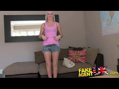 British Blonde movie: FakeAgentUK Blonde college girl conned into deep throat fuckfest casting