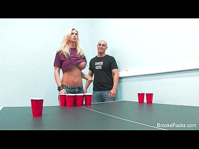 Blonde Cumshot Facial video: Sexy Beer Pong With Brooke Banner