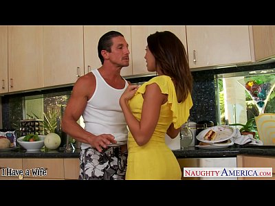 Blowjob Brunette Busty video: Brunette wife Rachel Starr taking cock in kitchen