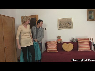 Granny Grandma Olderyounger video: Cute mature lady and boy