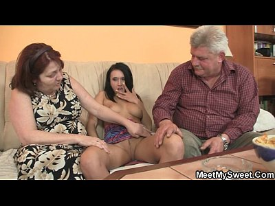 Teen Threesome porno: He leaves and parents seduce his GF