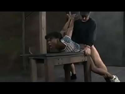 Bdsm Black xxx: Bound Black girl fucked by white dom dick