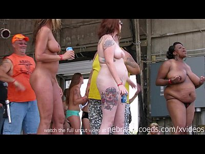 Exgirlfriend Firsttime Flashing video: amateur strip contest at iowa biker rally