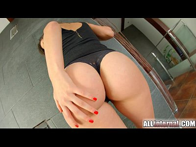 Babe Blackdress Blowjob video: Allinternal brunette reveals her pussy creampie