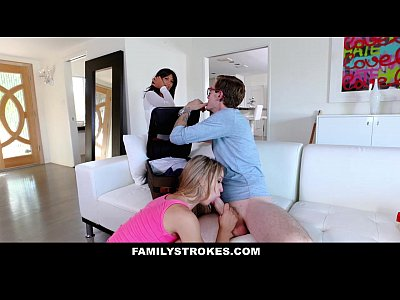 Blonde Cowgirl Cumshot video: FamilyStrokes - College Bro Cums Home To Horny SIs
