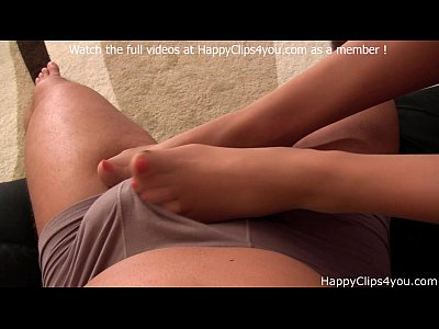 Foot Fetish Footjob video: Amanda Cruz nylon footjob cumshot video