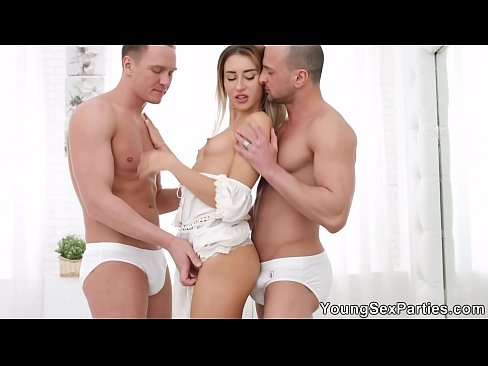 Young Sex Parties - All-white home DP party